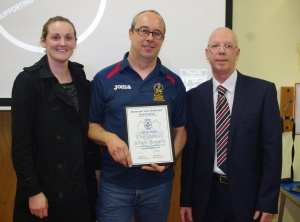 Outgoing Barkston Ash RA chairman Tony Johnson with the Quest Silver award alongside West Riding County FA chief executive officer Hannah Simpson (left) and former Premier League referee Neale Barry (right)