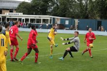 Carl Stewart scores one of his three goals in Tadcaster Albion's 5-0 win over Barnoldswick Town