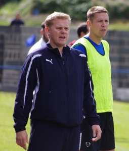 Pontefract Collieries joint manager Duncan Bray (left) says his side are down to the barebones for the FA Vase clash with Worsbrough Bridge