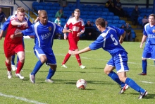 The ball drops nicely for Pontefract defender Tom Copping for the second goal