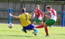 Adam Baker scores the winning goal for Harrogate Railway