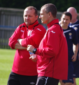 Harrogate Railway manager Billy Miller (left) and his assistant Lee Ashforth