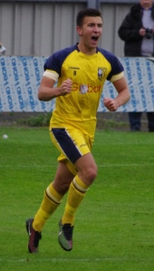 Calum Ward celebrates putting Tadcaster 2-1 in front against Barton