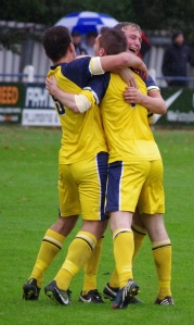 George Bissett is congratulated after heading Tadcaster into a 3-1 lead