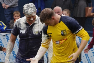 Paul Marshall and Josh Barratt stand up after Tadcaster Albion's Ice  (and flour) Bucket Challenge